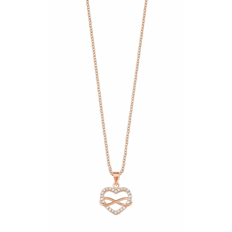frische Stile Qualität zuerst 2019 professionell s.Oliver Jewel Schmuck Damen Silber Rosé Kette Halskette Herz Unendlich  2020988