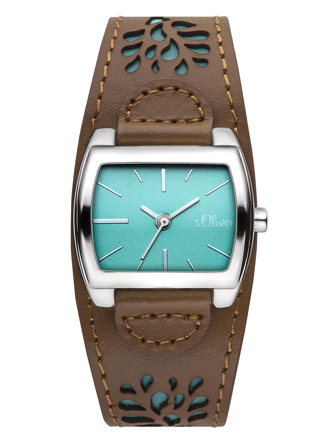 s.Oliver Damenuhr Uhr Leder Braun Türkis Modern Armbanduhr ...